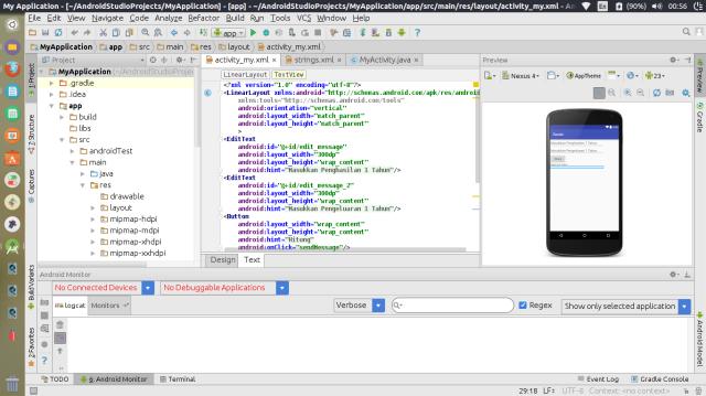 tampilan IDE android studio
